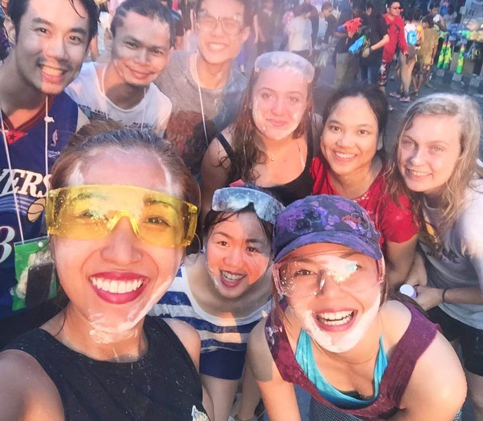 Teacher Pear enjoyed Songkran festival with her friends in Khon Kaen.
