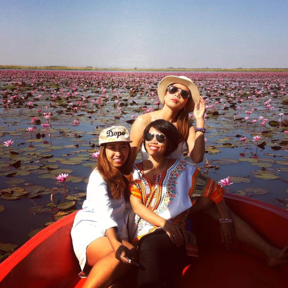 Teacher Pear and her friends on a boat among amazing pink lotuses.